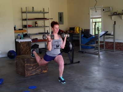 Elevated Back Leg Lunge with Curl